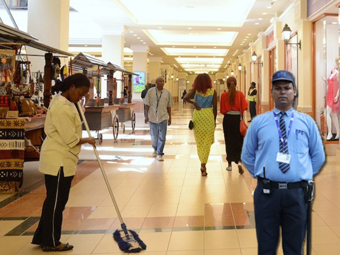 security guard on duty in mall