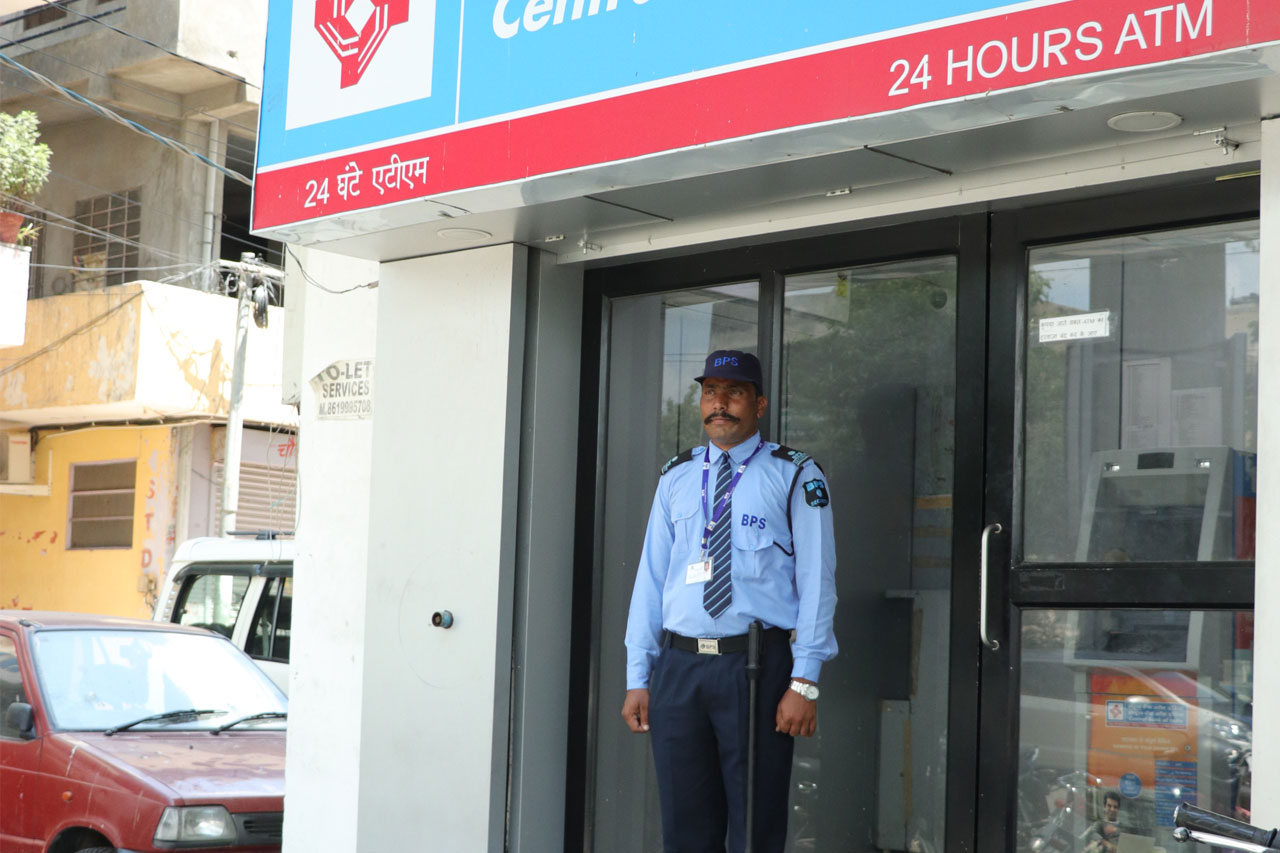 on duty security guard at atm